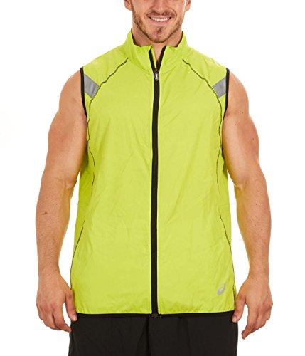 (ASICS Men's Shosha Running Vest, Neon Lime/Black, Large)