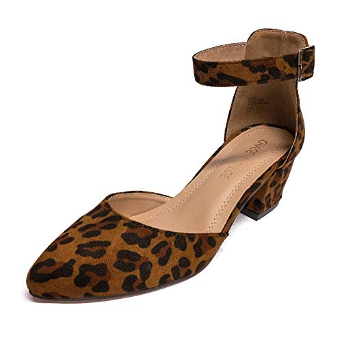Chase & Chloe Jason-1 Pointy Toe Chunky Heel Women's D'Orsay Pump Shoes (8.5 M US, Leopard Suede) -