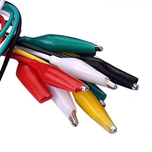 SIENOC 10 Pcs Meter Colored Insulating Alligator Croc Clip Electrical Jumper Test Lead Cable