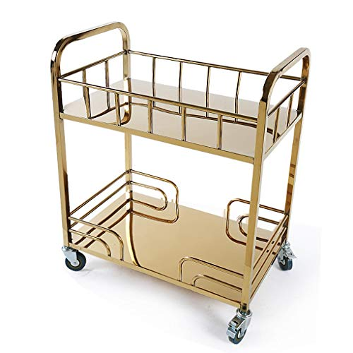 (YX Tool Cart - Stainless Steel Titanium Luxury Service Car Tea Cart Hotel Dessert Car Trolley Mobile Shelf (Size : 72x42x84cm))