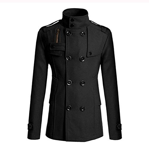 Woolen Apparel Sleeve Winter Business Breasted Outerwear Double Coat Woolen Slim Schwarz Men's Long Men's Coat Lapel Jacket Coat Vintage Huixin Trench Men's Fashion vpfqZ5