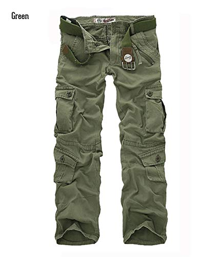 Casual Military Style Camo Cargo Pants Men Many Pockets Camouflage Combat Trousers Cotton Army Tactical Pants Green 34