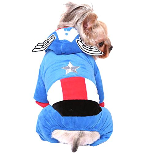 M2cbridge Captain America Pet Costumes with Angel Wing Dog Holiday Clothes (Blue, XL (US 16)) (Captain America Dog)