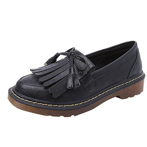 Estimadas Mujeres Time Bowknot Tassels Slip Onloafers Zapatos Negro