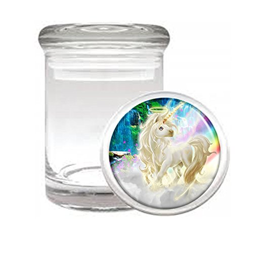 Medical Glass Stash Jar Unicorns Mythical Creature S9 Air Tight Lid 3'' x 2'' Small Storage Herbs & Spices by JS & Caren