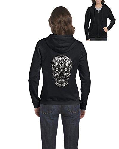 Skull Zip Fleece (ARTIX Sugar Skull Black & White Full-Zip Womens Hoodie X-Large Black)