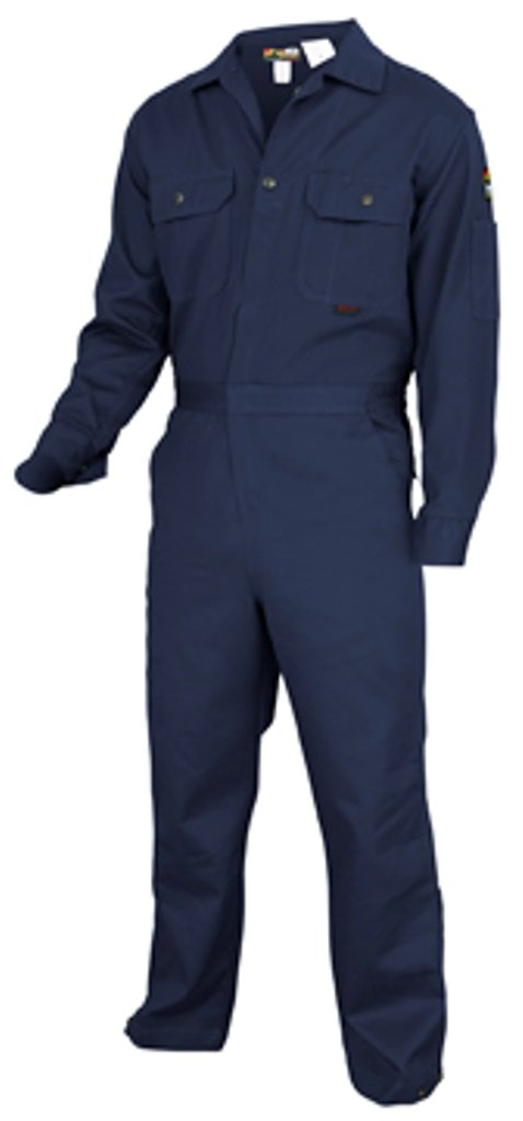 MCR Safety DC1N40T Deluxe Contractor Flame Resistant (FR) Coveralls, Navy Blue, Size 40 Tall, Chest 40-Inch, Waist 34-Inch, Inseam 32-Inch
