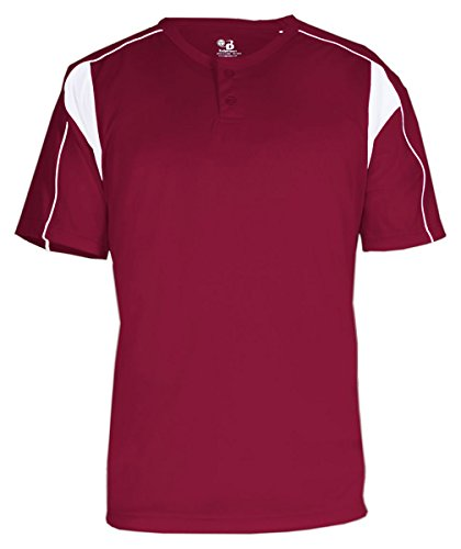 Badger Pro Placket Performance Contrast Henley T-Shirt, Large, (Badger T-shirt Henley)