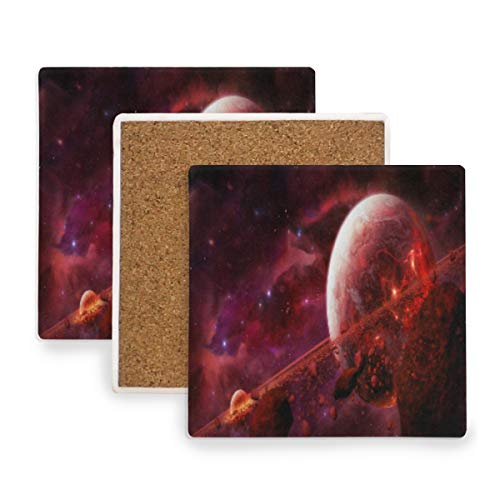 Outer Space Planet Explosion Doomsday Ceramic Coasters for Drinks,Square 4 Piece Coaster Set