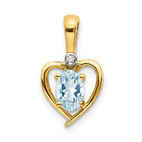 Gem 14kt Yellow Aqua Gold (ICE CARATS 14kt Yellow Gold Diamond Blue Aquamarine Pendant Charm Necklace Gemstone Birthstone March Set Style Fine Jewelry Ideal Gifts For Women Gift Set From Heart)