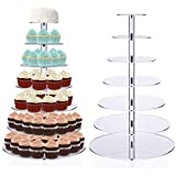 5/6/7-Tier Round Cupcake Stand - Wedding Party Acrylic Tiered Cake Stand - Dessert or Cupcake Tower (6 tier