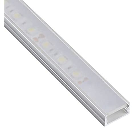 DL1407 - Perfil de aluminio 6063, 10 m, 5 barras de 2 m, para tiras LED, con cubierta opaca, tapas y grapas de montaje incluidas: Amazon.es: Hogar