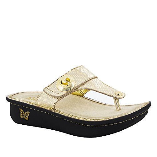 Alegria Womens Carina Wedge Thong Sandal Gold Dazzler Size 40 EU (10 M US Women)
