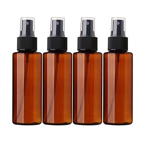 Sinide Refillable Plastic Spray Bottles 100ML 3.42oz – 4 Pack Amber Fine Mist Perfume Make Up Clear Empty Sprayer Bottle Cosmetic Atomizers Toiletries Liquid Containers Leak Proof Amber