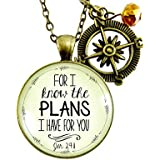 """24"""" For I Know the Plans I Have For You Necklace Faith Inspired Life Quote Jewelry Jeremiah 29 11 Gift Compass Charm"""