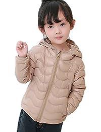 AugusWu Unisex Boys Girls Packable Hoodie Wavy Line Down Coats Puffer Jacket