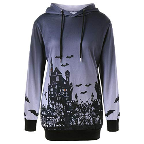 Fiaya Women's Halloween Hoodies Long Sleeve Hooded Bat Starry Drawstring Printed Sweatshirt Tops (Gray, M) -