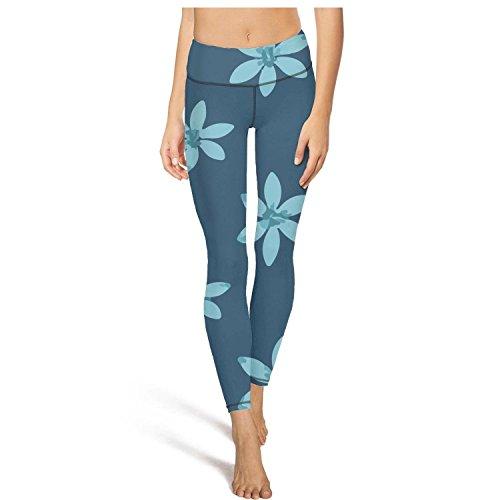 (Keppel Teerd Women's Beautiful Blue Flower Sexy High Waist Yoga Pants Fitness Workout Leggings)