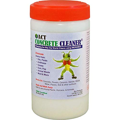 ACT Microbial Concrete Cleaner - 2.5lbs - Commercial and Residential - Remove Oil Grease Animal and Mildew Stains - Perfect for Your Driveway Garage or Warehouse - Bio-Remediates and is Eco-Friendly ()