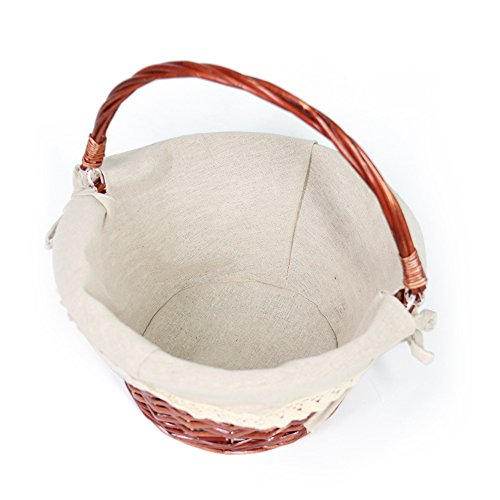 OYPEIP(TM)Father's Day Gift Basket Traditional Fashion Basket Kids Gift Basket Woven Willow Round Wicker Storage Basket With One Drop Down Handle Fabric Cotton Linen For Office, Bedroom, Closet, Toys by KRZIL (Image #4)