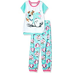 AME Sleepwear Girls' Little Secret Life of Pets 2-Piece Pajama Set, Puppy Love, 4