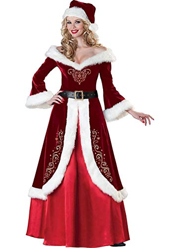 Women's Mrs. Claus Deluxe Costume V-Neck Sexy Set Holiday Christmas Dress for Adult Medium