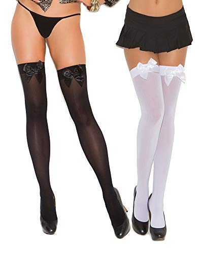 Womens Satin Bow Opaque Stockings Black and White Thigh Highs- 2 Pack