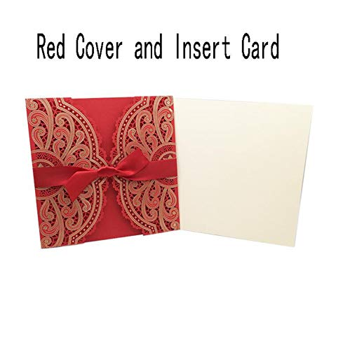 qiao-qiao-store 50pcs 4 Colors Cut Wedding Invitations Card Greeting Card Customize with Ribbon Birthday Wedding Decoration Party Supplies-in Cards & Invitations from Home & Garden,Red Cover and I from qiao-qiao-store