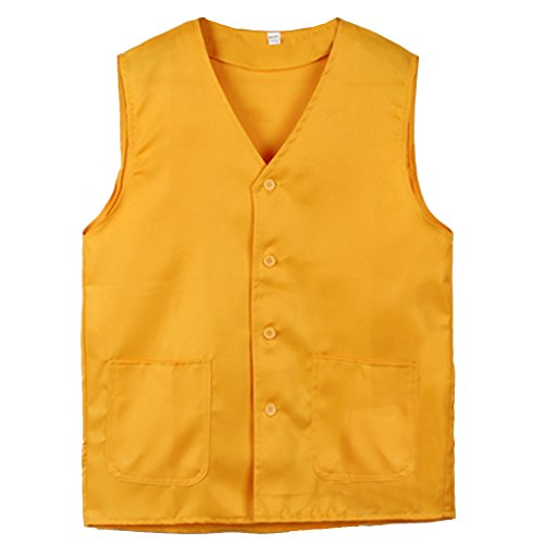 TopTie Vest for Supermarket Clerk Work Uniform Vests with Pockets & Front Button Yellow-M