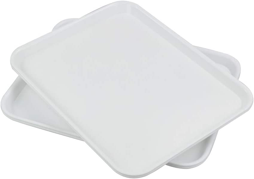 Nesmilers Plastic Fast Food Trays, Cafeteria Trays, 4 Pack Serving Trays (White)