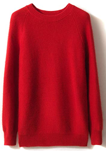 LONGMING Women's Winter Cashmere Knitted Crewneck Long Sleeve Warm Wool Pullover Sweater (L, Red)