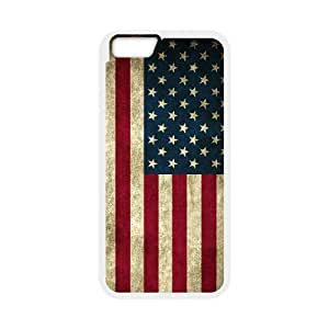 Diy American Retro Flag Phone Case for iphone 6 (4.7 inch) White Shell Phone [Pattern-1]