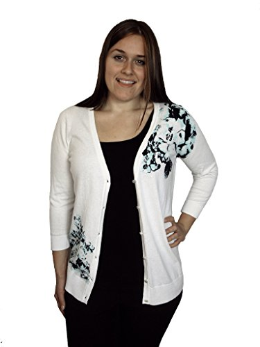 (AGB Women's Printed Embellished Button-front Cardigan Sweater Ivory (Large))