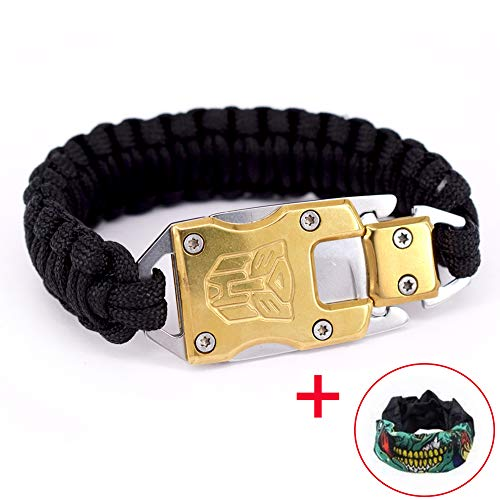 Thick Rope Bracelet - 24kmagic Outdoor Camping Survival Bracelets Outdoor Hiking Travelling Hunting Gear Emergency Tactical Parachute Rope Bracelet with Packet Knife (Gold)