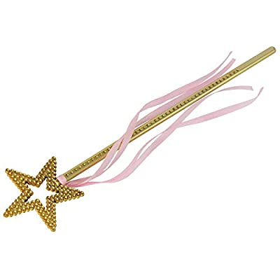 XiangGuanQianYing 13.4 Inch Princess Wands Little Girls Jewelry Star Princess Wand Gold with Pink Ribbon(5 Pack): Clothing