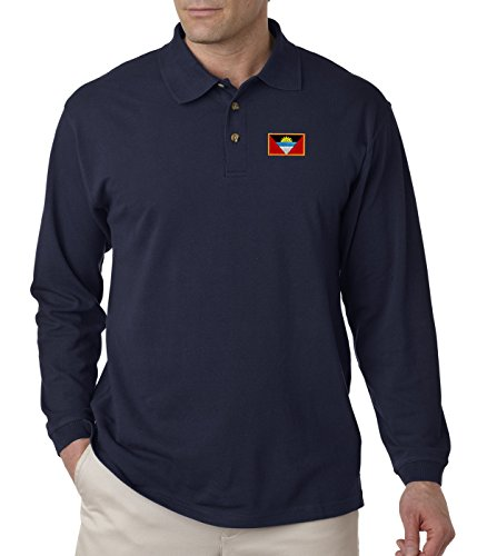 - Antigua Barbuda Embroidery Design Adult Button-End Spread Long Sleeve Unisex Cotton Polo Jersey Shirt Golf Shirt - Navy, 3X Large