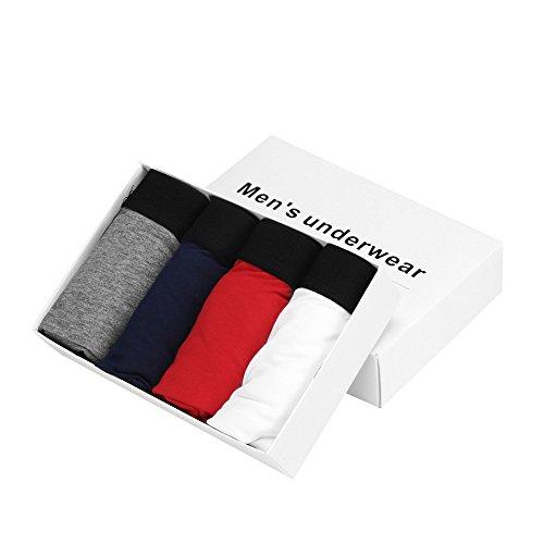 Kixing TM 4pcs Men's Underwear Bulge Pouch Trunks Boxer Briefs Soft Shorts (3XL, Gray+Blue+White+Red)