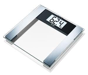 Beurer BG-17 - Báscula diagnóstica de cristal, pantalla LCD extra grande (40 mm), memoria 10 posiciones, vidrio transparente