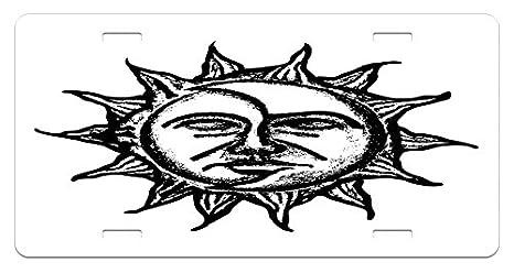 Line Art Of Sun : Amazon.com: lunarable sun and moon license plate hand drawn