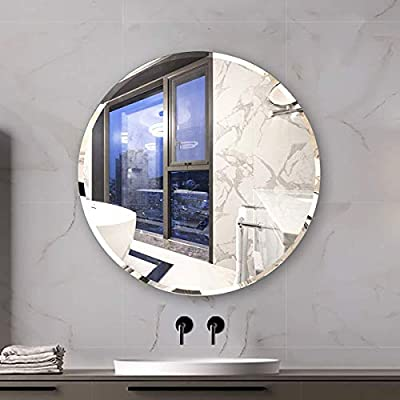 "KOHROS Round Beveled Polished Frameless Wall Mirror for Bathroom, Vanity, Bedroom (24"" Circle) - this wall mirror brings a feel of minimalism to any space as it offers a clear look at your reflection. Mount it in the bath or powder room for a convenient spot to fix hair and apply makeup, or set it in the entryway as a last-minute checkpoint before you head out the door. No matter where it lives, this mirror's silver finish and frameless silhouette add ultramodern appeal to your abode. Better yet, it hangs both vertically and horizontally to suit your Simple yet sophisticated, this frameless wall mirror ups the ante of your favorite aesthetic. Defined by its beveled design and rectangular silhouette, this sleek and glass design anchors any wall in eye-catching style. Add this wall mirror to your master suite powder room to complement a clean and cohesive arrangement, then use it to give yourself one last look before heading out on a night on the town. Whether your look is uptown loft or breezy coastal, this versatile design ups the ante Unframed and understated, this sleek bathroom mirror is perfect for opening up your powder room or another space in your home. This beveled glass piece showcases an oval,rectangle,square,round silhouette, and it is available in several sizes to ensure it fits into the room you had in mind. Two standard hooks are bonded at the back, so you can mount it vertically or horizontally as soon as it reaches your door. - bathroom-mirrors, bathroom-accessories, bathroom - 41wFcGPtWYL. SS400  -"