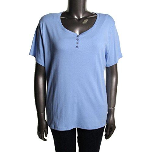 Karen Scott Womens Plus Cotton Short Sleeves T-Shirt Blue 2X