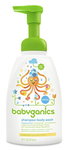 Babyganics Baby Shampoo and Body Wash, Fragrance Free, 3 Pac