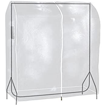 "Hangerworld 47"" Transparent Clothes Garment Rail Cover with Strong Zipper and Document Pocket"