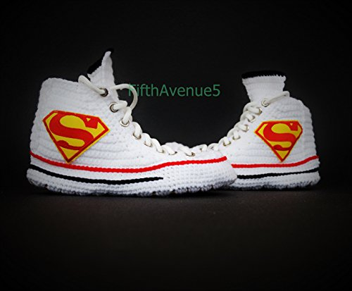The Superman Patch Crochet Style Handmade Slippers, Superhero Canvas Knitting Slippers Men And Women Anime Teenagers High Top -
