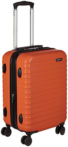 AmazonBasics Hardside Spinner Luggage, 20-inch Carry-on/Cabin Size, Burnt Orange (Case Luggage Hardside)