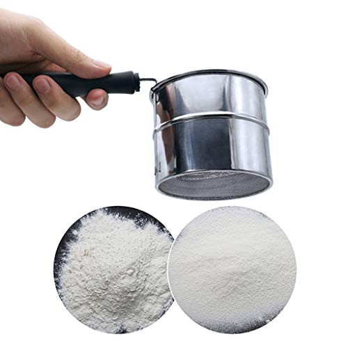 WONdere New Stainless Steel Cup Flour Sifter Baking Stainless Steel Shaker Sieve Cup Mesh Crank Flour Sifter with Measuring Scale Mark for Flour Icing Sugar ()