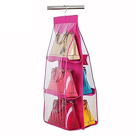 6 Pockets Hanging Handbag Closet Organizer,Handbag Organizer Purse  Storage,Space Saver Bags