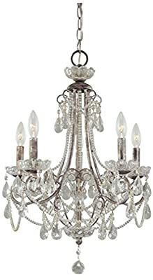 Minka Lavery 3134-207 5 Light Mini Chandelier, Distressed Silver Finish