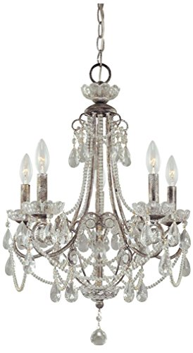 Minka Lavery 3134-207 5 Light Mini Chandelier, Distressed Silver Finish (Chandeliers Distressed Mini Crystal Silver)