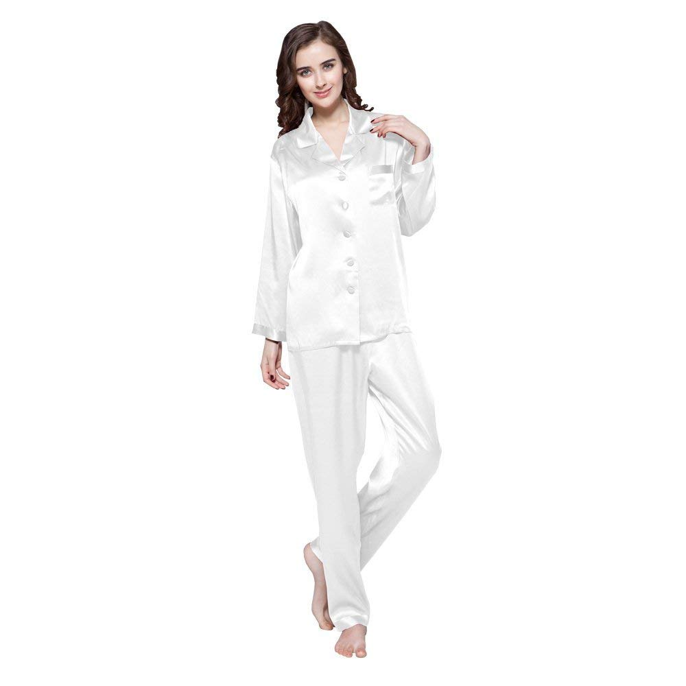 Natural White LilySilk Women's Silk Pajama Set 16 Momme Long Top&Pants 100 Pure Silk Sleepwear